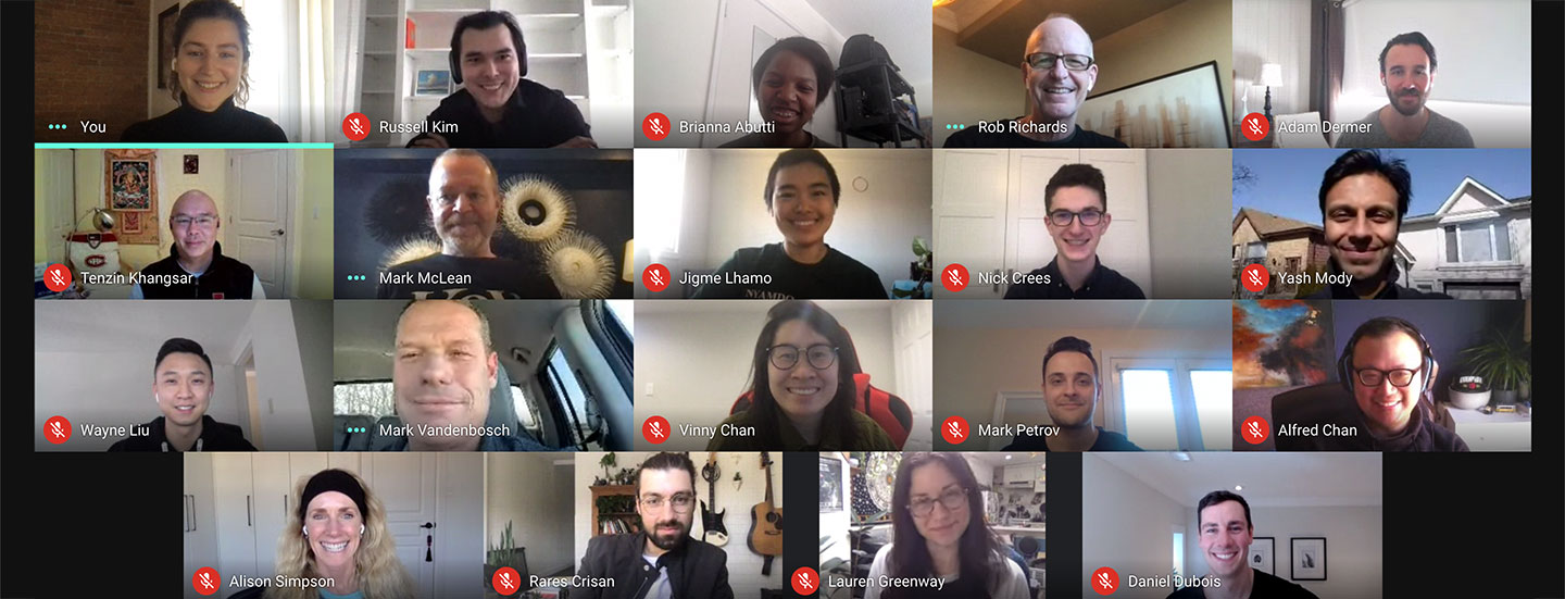 Photo of Key team members on a video call
